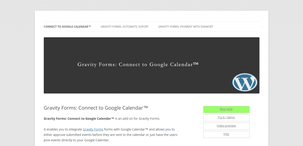 Gravity Forms Connect to Google Calendar™