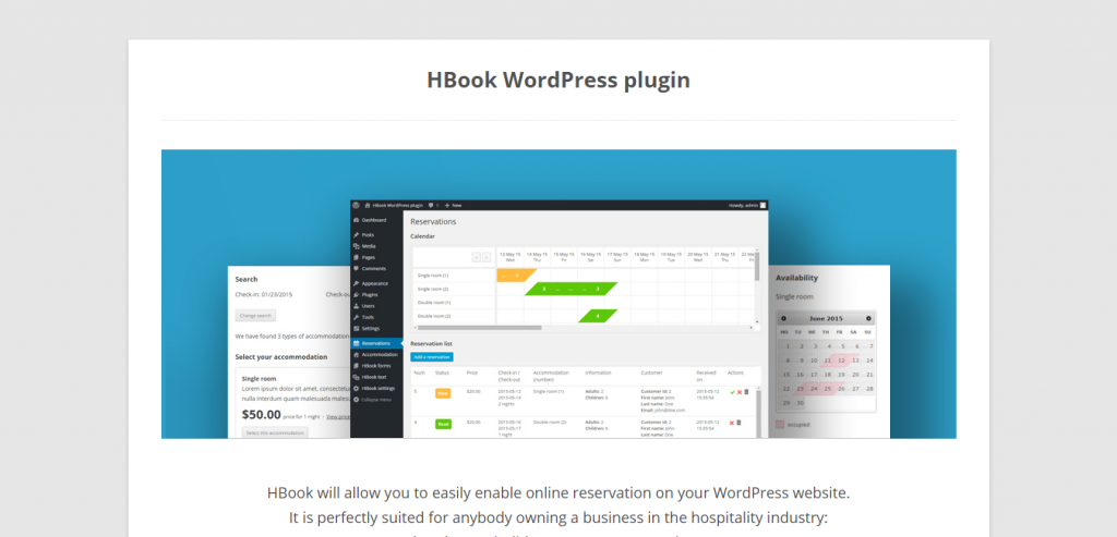HBook Accommodation booking plugin for WordPress