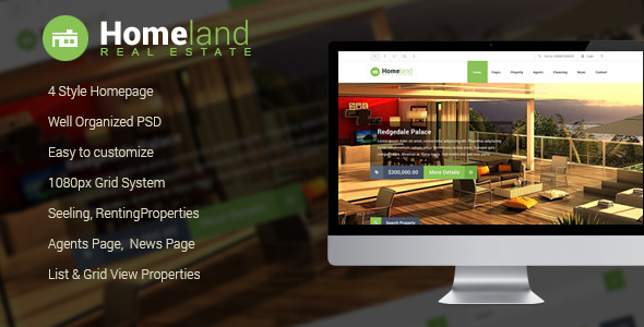 Homeland Real Estate PSD Template