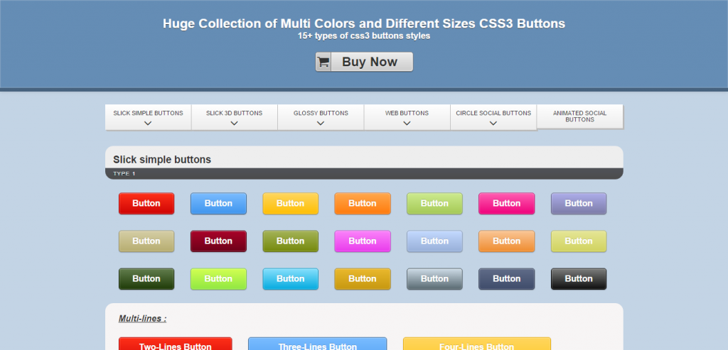 Huge Collection of Pure CSS3 Buttons