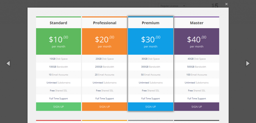 Jnix Responsive Pricing Tables