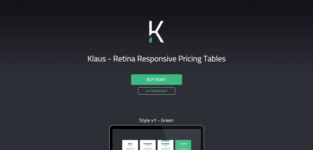 Klaus Retina Responsive Pricing Tables