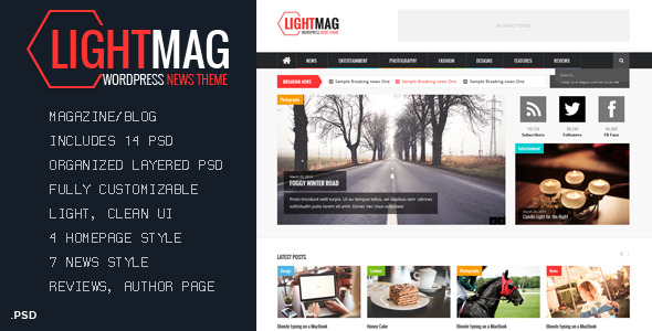 LightMag Magazine PSD Template