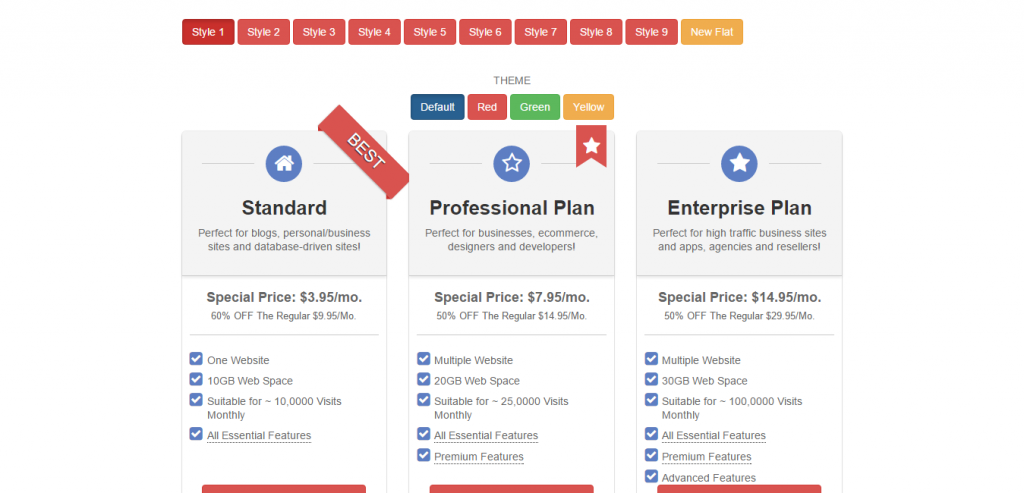 Minsoft Responsive Pricing Tables