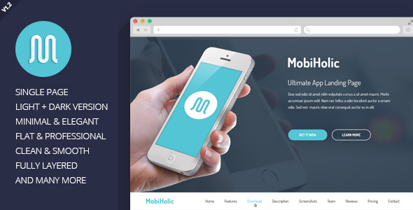 MobiHolic Ultimate App Landing Page Template