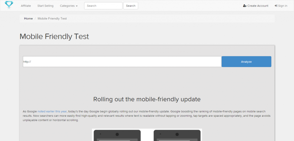 Mobile Friendly Testing Tool