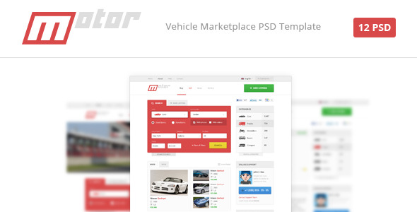 Motor Vehicle Marketplace PSD Template