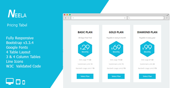 Neela CSS3 Responsive Pricing Table