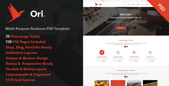 Ori Multi-purpose Business PSD Template