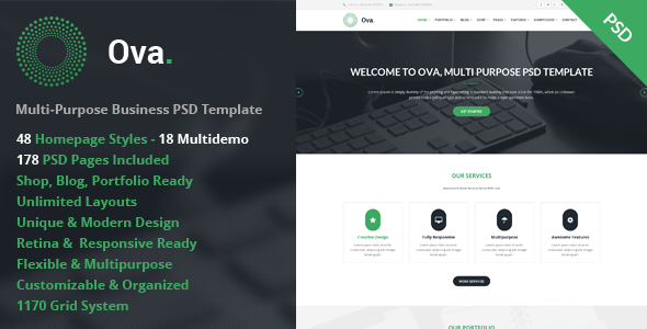 Ova Multi-purpose Business PSD Template