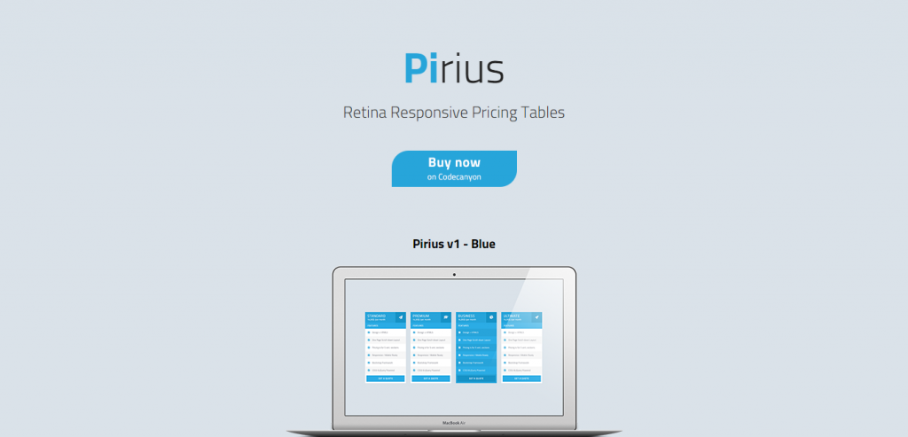 Pirius Retina Responsive Pricing Tables