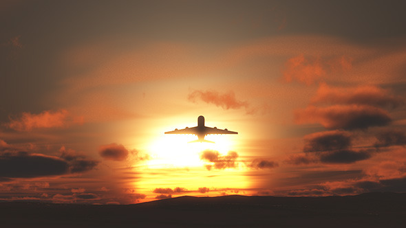 Plane Starting Against Sunset Sky