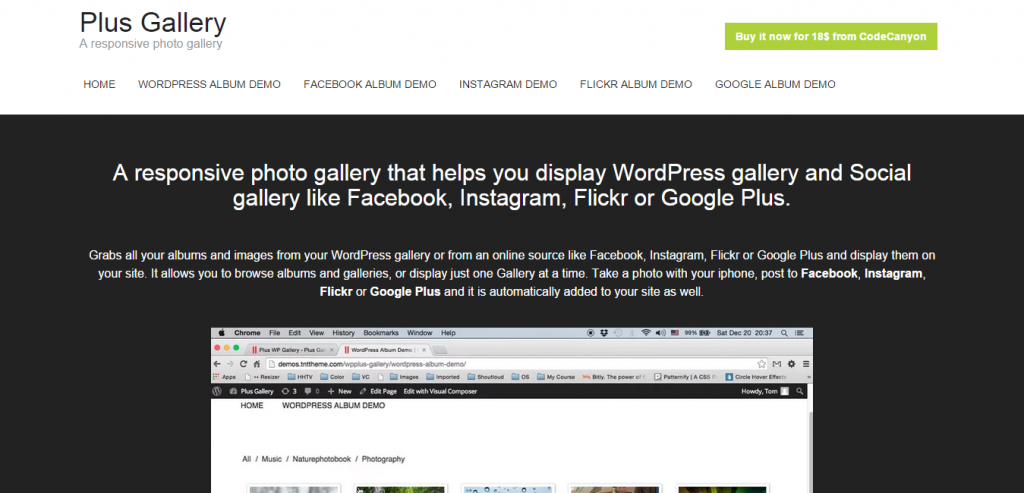 Plus Gallery A Responsive photo WP gallery and Social gallery