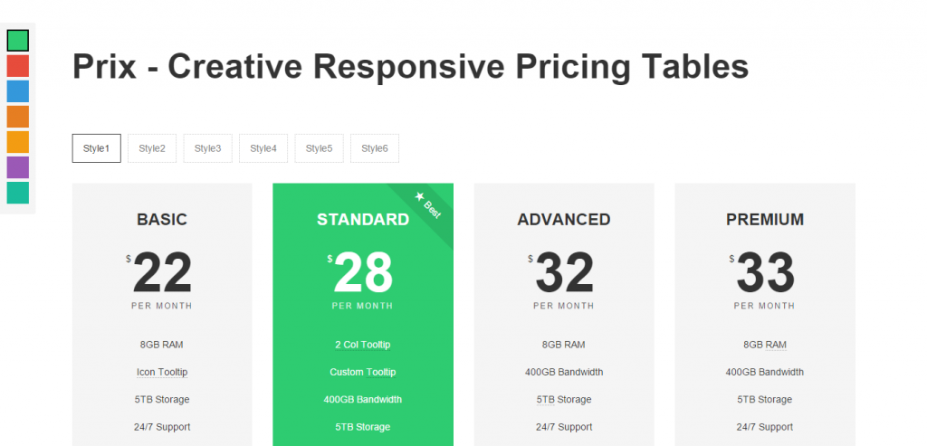 Prix Responsive & Multipurpose CSS Pricing Tables