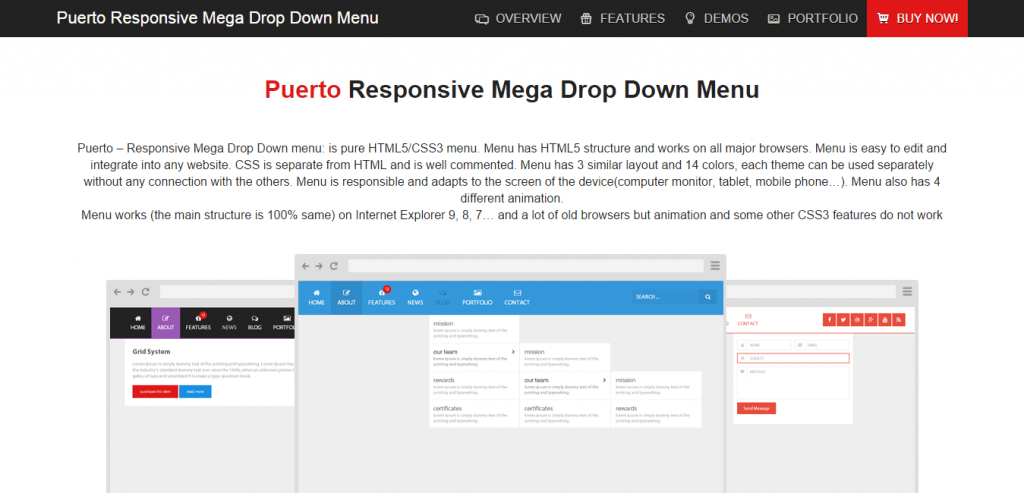 Puerto Responsive Mega Drop Down Menu