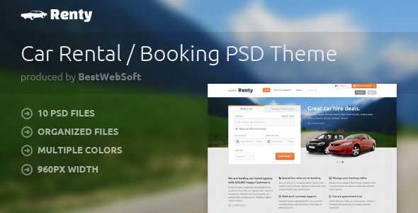 Renty Car Rental & Booking PSD Template