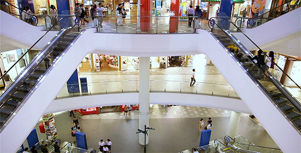 Shopping Mall People Pan Top To Bottom