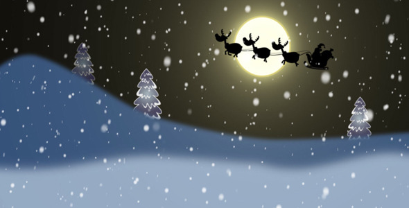 Silhouettes Of Santa And Reindeer