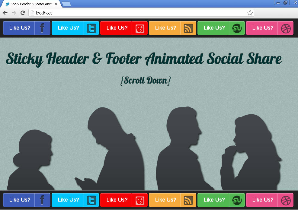 Sticky Header & Footer Animated Social Share