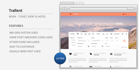 TraRent Travelling,Renting,Hotel Booking Theme