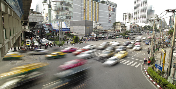 Traffic Jam In Busy Bangkok City Timelapse