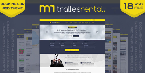 Tralles Car Rental, Sell and Booking PSD Template