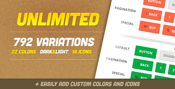 Unlimited 792 Flat Multipurpose CSS3 Buttons