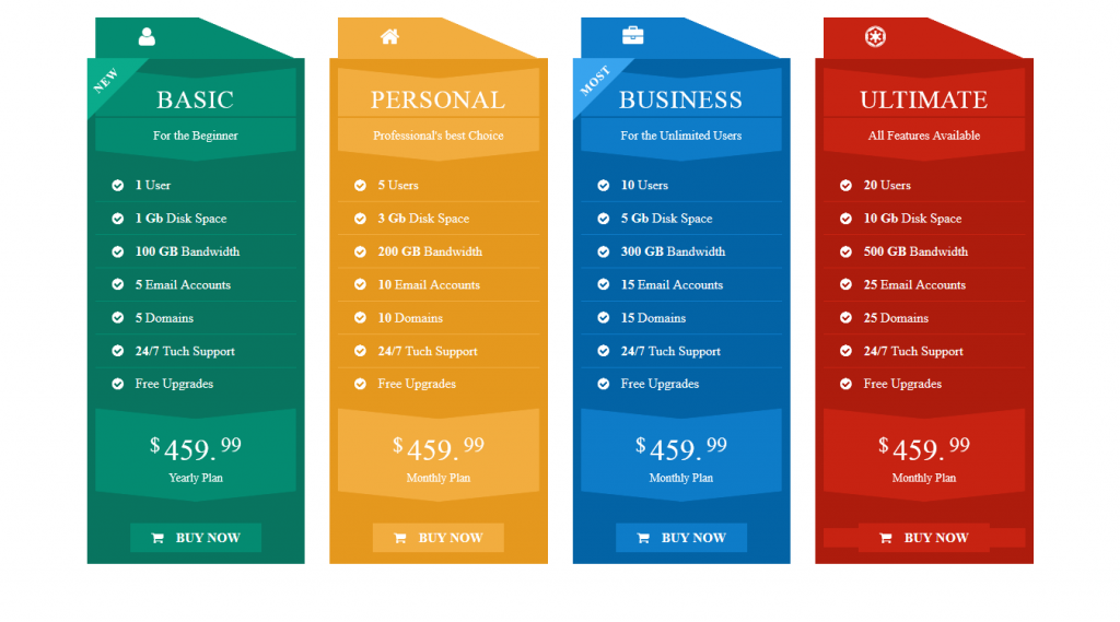 WHK Responsive Pricing Table