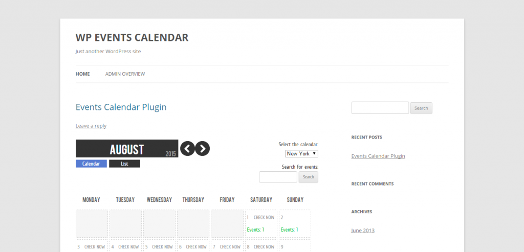 WP Events Calendar Plugin