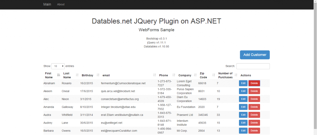 ASP.NET JQuery Datatables Server Side Integration