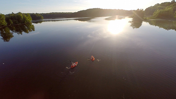 Aerial Of Kayaking In A Lake
