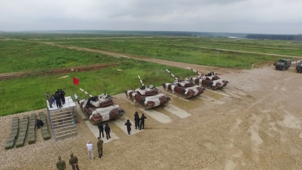 Aerial Shot Of The Several Military Tanks