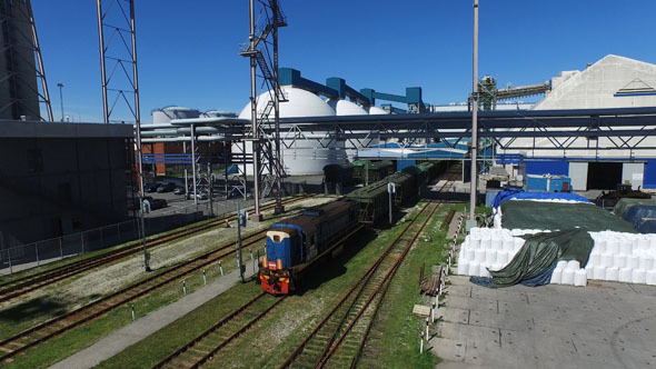 Aerial Shot of Moving Freight Train 2