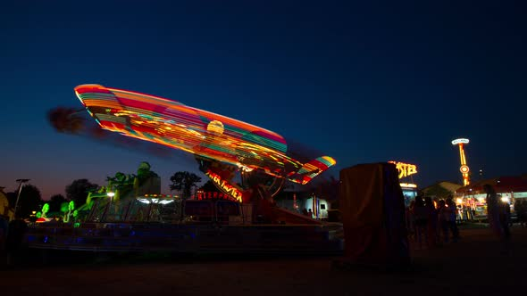 Amusement Park Ride At Night