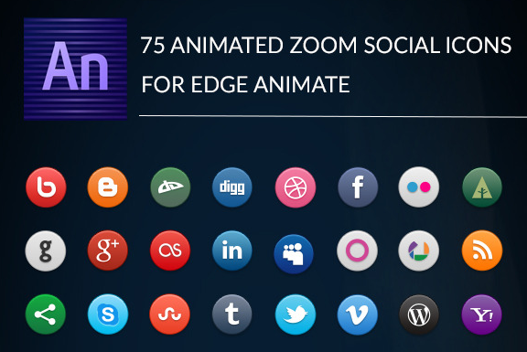 Animated Zoom Social Icons