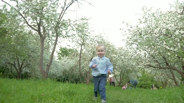 Boy Running To The Camera