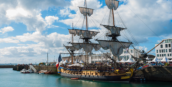 French Frigate Hermione in the Port of Brest