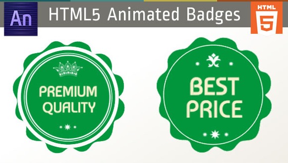 Green Edge Animate Badges HTML5