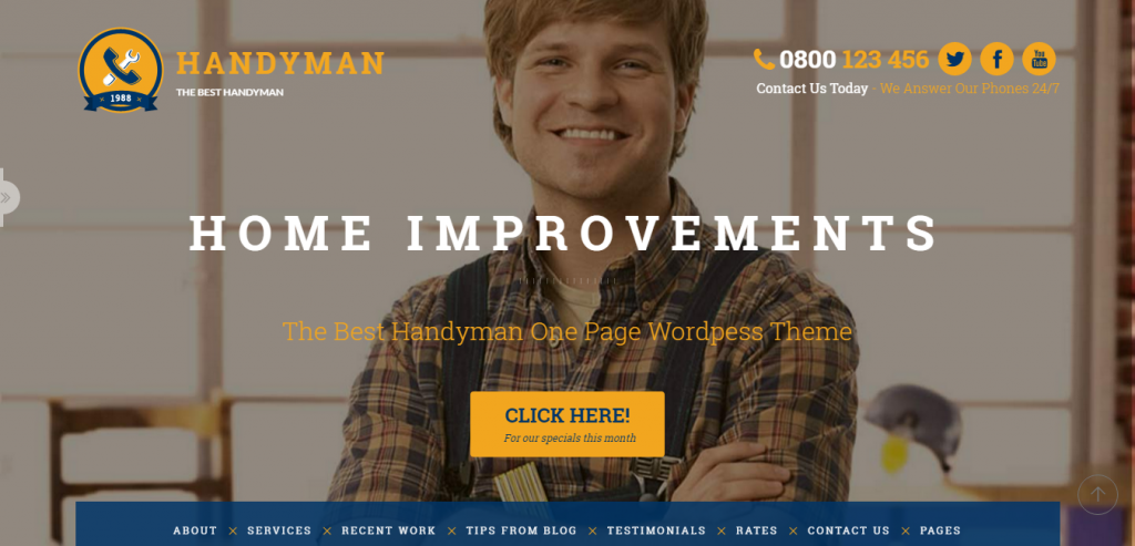 Handyman Craftsman Business WordPress Theme