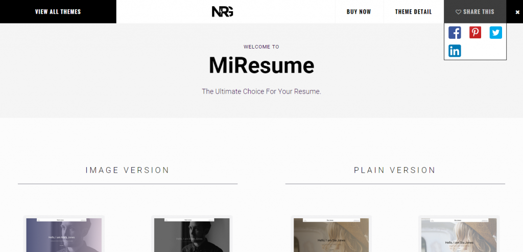 Miresume Resume, CV, Portfolio WordPress Theme