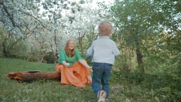 Mother And Little Son Having Happy Time In Bloomy