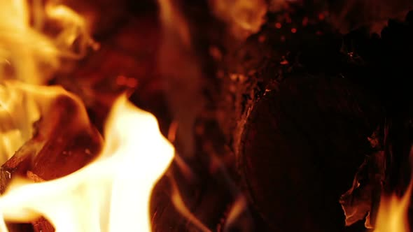 Slow Combustion Fireplace Fire Closeup 4