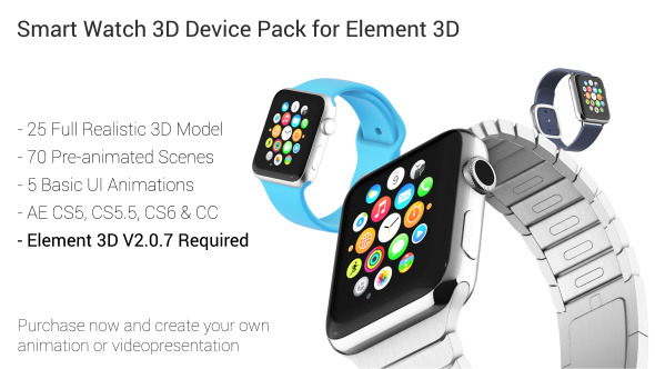 Smart Watch 3D Device Pack for Element 3D