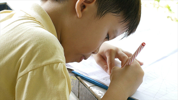 Young Boy Doing Homework 01