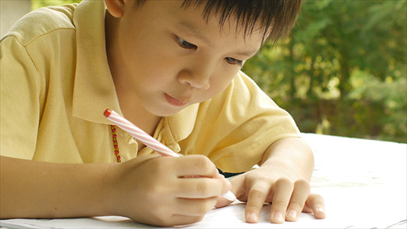 Young Boy Doing Homework 02