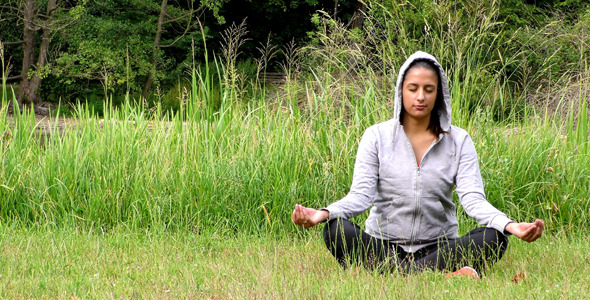 Young Girl Meditation Spirit Concept in Nature