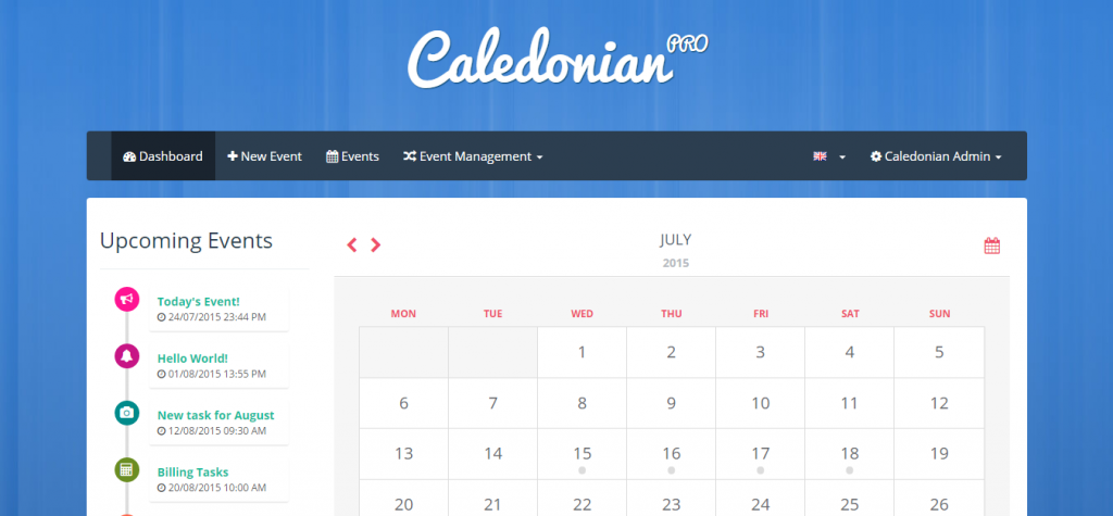 Caledonian PRO PHP Event Calendar