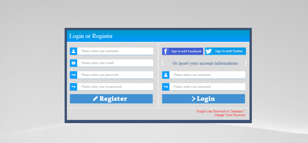 PHP AJAX Login & Register Form with Social Network