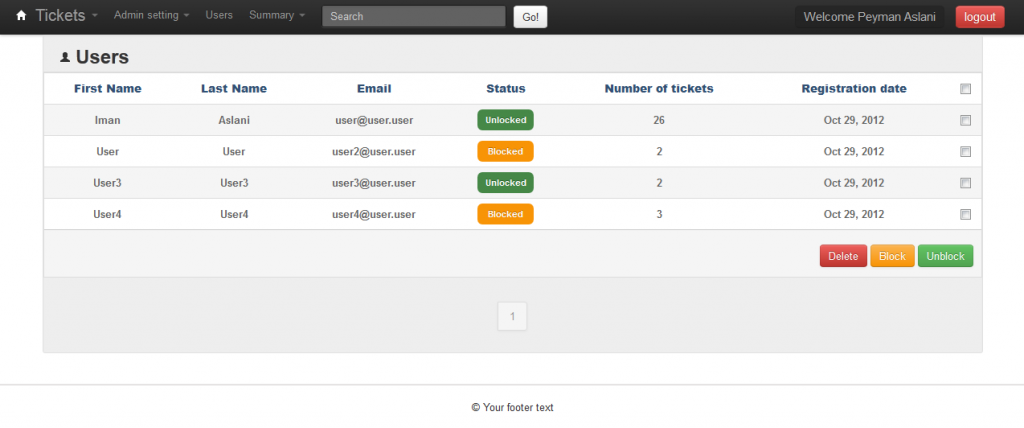 Responsive Bootstrap Support Ticket System
