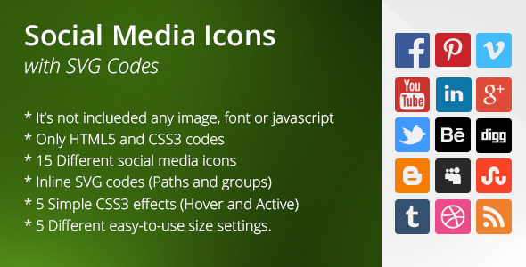 Social Icons with SVG Codes
